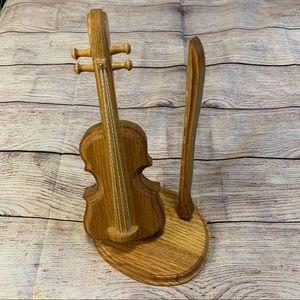 Handmade Wooden Violin Decor